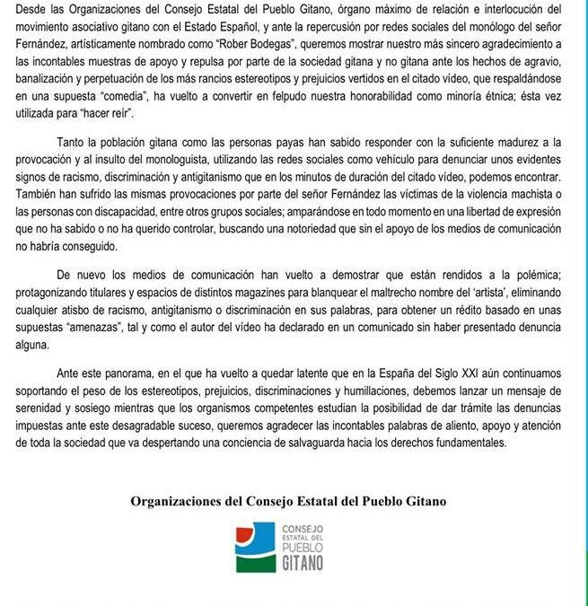 """El Consejo Estatal del Pueblo Gitano pide """"serenidad"""" mientras se tramitan denuncias contra Rober Bodegas"""