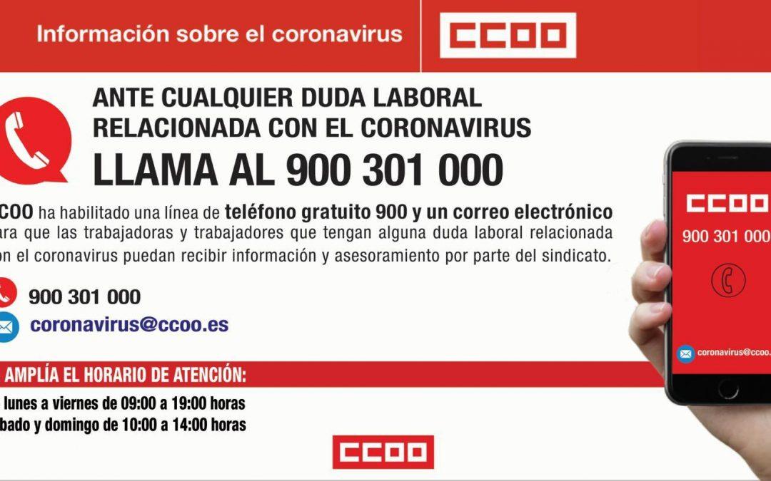 Teléfono gratuito de CCOO para de atención laboral por la crisis del coronavirus